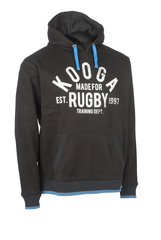 KOOGA MENS GRAPHIC TRAINING/OFF FIELD RUGBY HOODY BLACK/PROCESS BLUE
