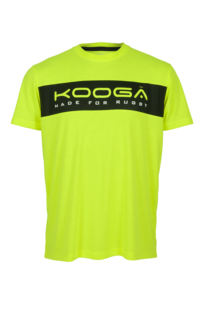 KOOGA LARGE LOGO MENS TRAINING/OFF FIELD RUGBY TEE VOLT/BLACK