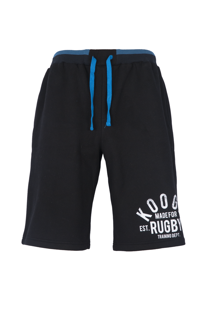 KOOGA MENS TRAINING/OFF FIELD GRAPHIC RUGBY SHORT JOGGERS BLACK/PROCESS BLUE