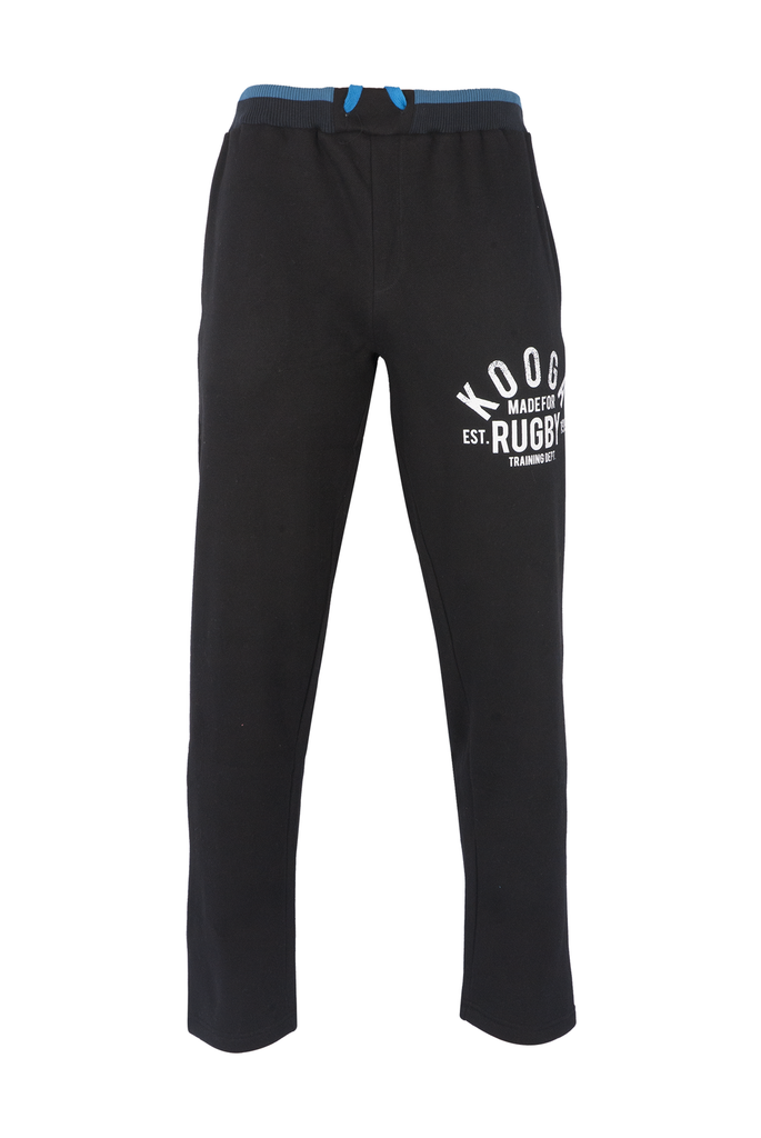 KOOGA MENS TRAINING/OFF FIELD GRAPHIC RUGBY JOGGERS BLACK/PROCESS BLUE