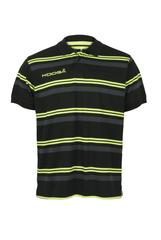 KOOGA YARN DYED MENS TEAMWEAR/OFF FIELD STRIPE RUGBY POLO BLACK/VOLT