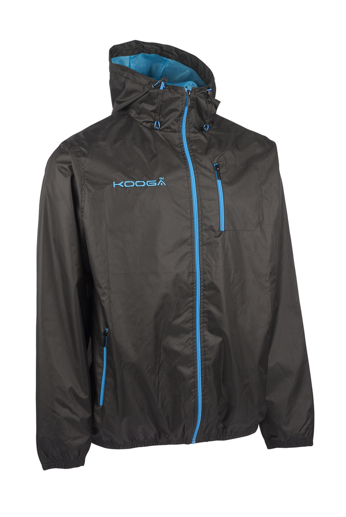 KOOGA MENS Q3 HOODED FULL ZIP TRAINING/OFF FIELD RUGBY RAIN JACKET BLACK/BLUE