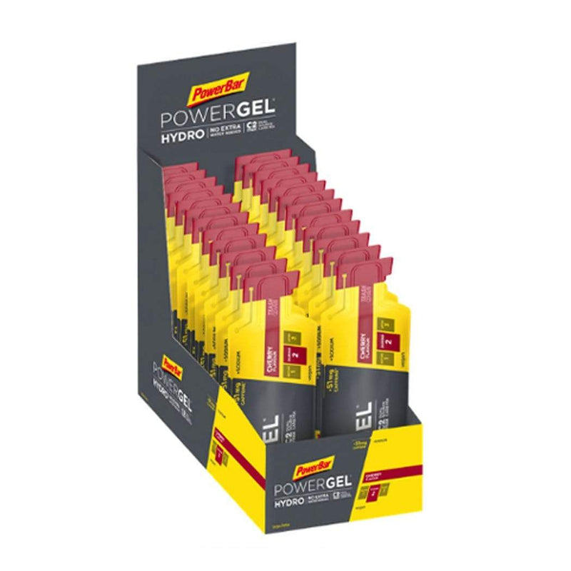 PowerBar Gels Cherry (51mg Caffeine) PowerGel Hydro 67ml Box (24 x 67ml) XMiles