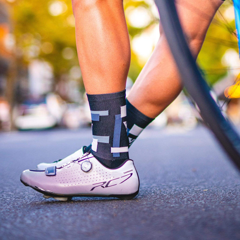 Versus Socks 8-12 Black Blocks Cycling Thin Socks