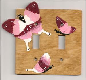 Butterfly double switch plate cover