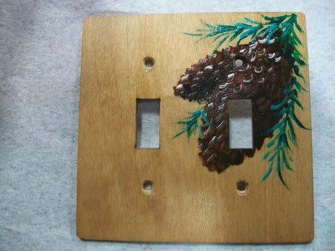 Pine Cones Double Switch Plate wood background
