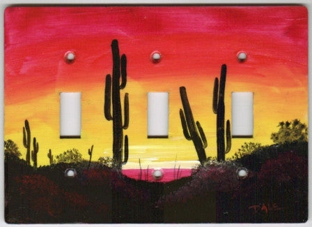 Desert sunset scene triple switch plate cover