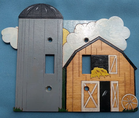 Barn double switch plate cover