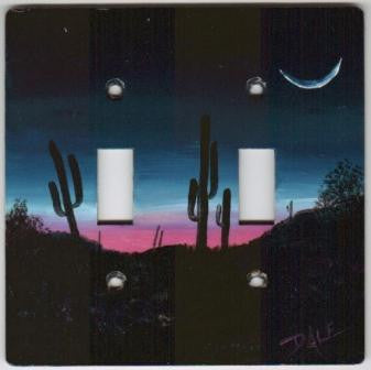 Desert sunrise scene double switch plate cover