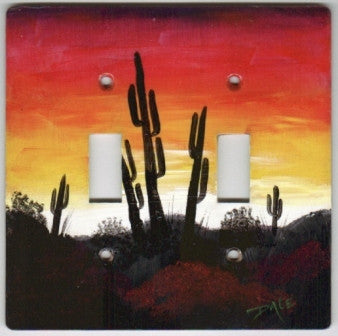 Desert Sunset scene double switch plate cover