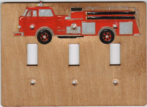 Fire Truck Three switch plate cover