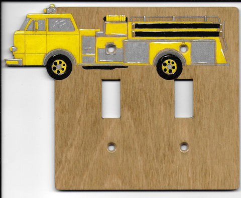 Firetruck double switch plate cover