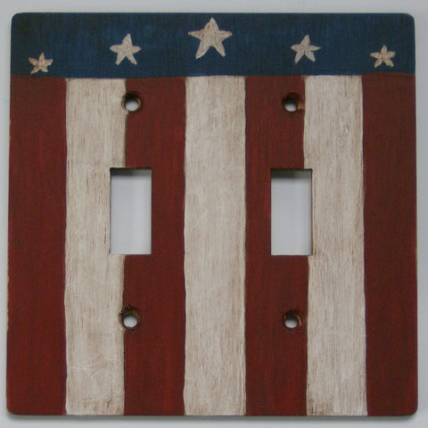 Primitive Flag Double Switch plate cover
