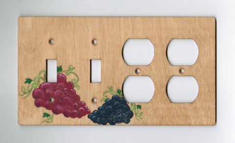 Grapes double switch double plugs right combination switchplate cover
