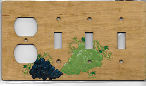 Grapes three switch one plug left combination switchplate cover