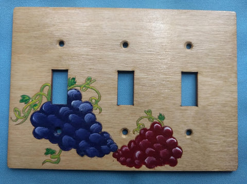 Grapes triple switchplate cover