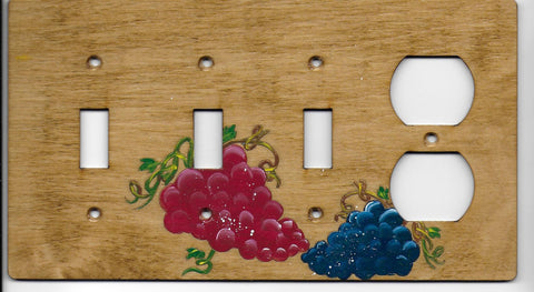 Grapes three switch one plug right combination switchplate cover