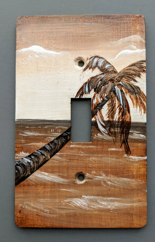 Sepia Brown Palm Scene Single Switch