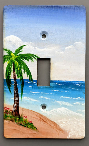 Palm trees seascape single switch plate cover