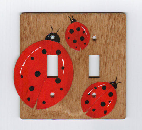 Ladybug double switch plate cover