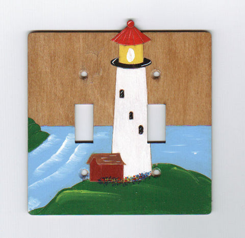 Light house double switch plate cover
