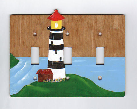 Light house triple switch plate cover