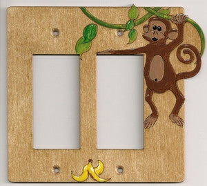 Monkey double rocker wooden light switch plate cover