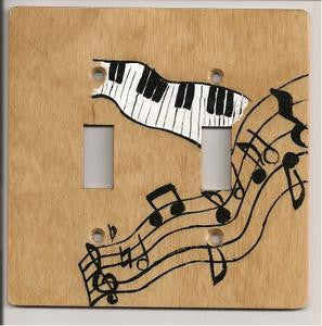 Music notes double switch plate