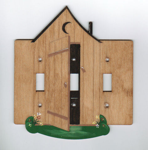 Outhouse triple switch plate cover