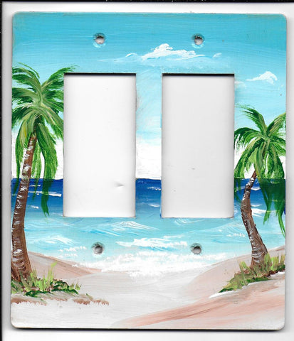 Palm scene double rocker switch plate cover