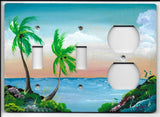 Palm Trees two switches and one plug right switch plate cover