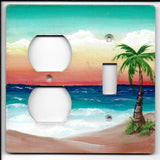 Palm Tree seascape switch and outlet left switch plate cover