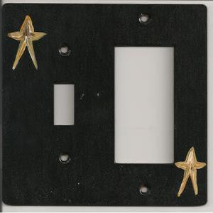 Primitive Stars wooden switch plate, switch and rocker right switch plate cover