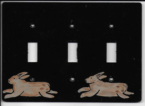 Primitive Bunny triple switch plate