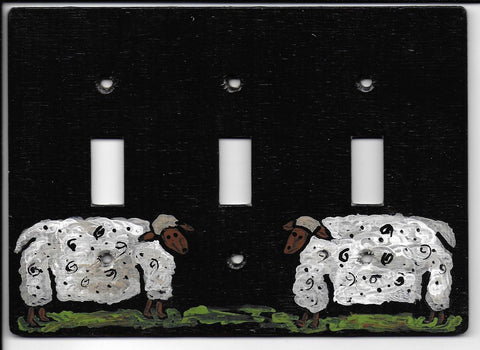 Primitive Sheep triple switch plate