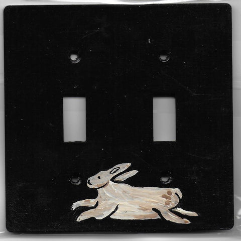 Primitive Bunny double switch plate