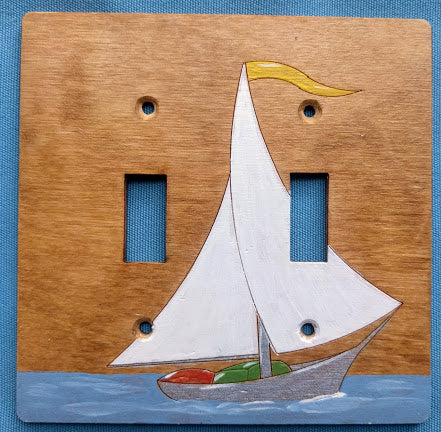 Sailboat double switch plate cover