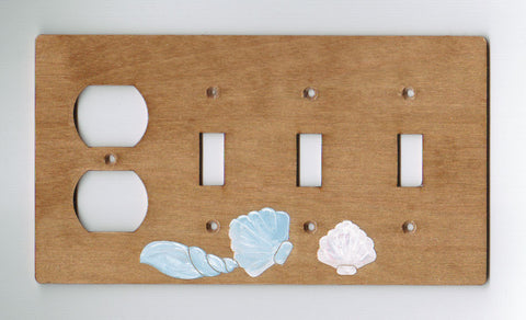 Seashell three switch one plug left combination switch plate cover
