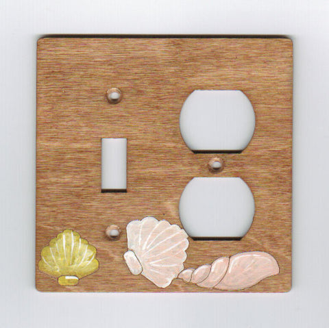 Seashells switch and plug right combination switch plate cover