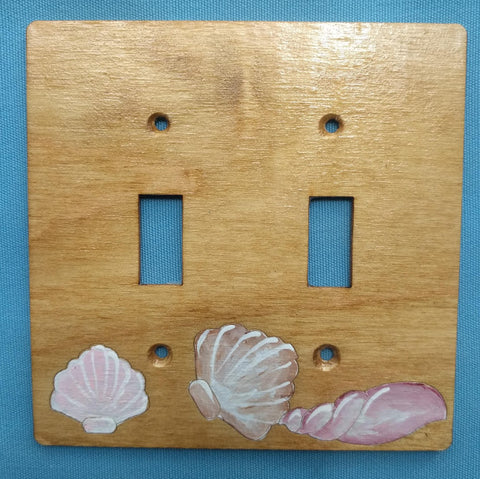 Seashell double switch plate cover