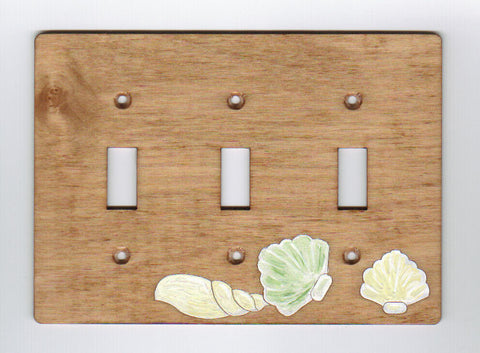 Seashell triple switch plate cover