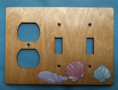 Seashell two switch and one plug left combination switch plate cover