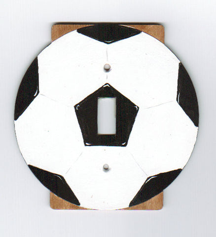 Soccer ball single switch plate cover