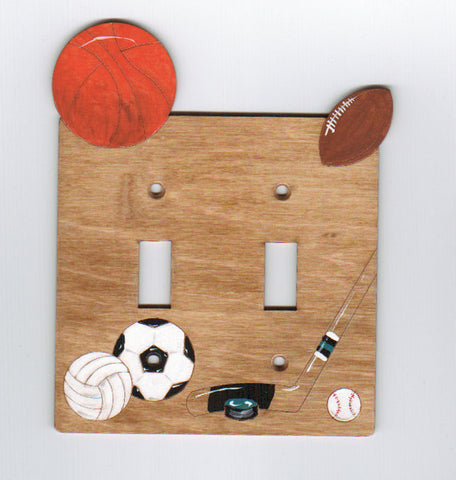 Sports double switch plate cover