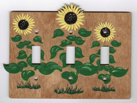 Sunflower triple switch plate cover