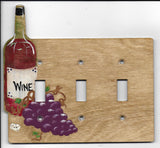 wine bottle and grapes triple switch switch plate cover
