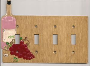 Wine bottle and grapes four switch switch plate cover
