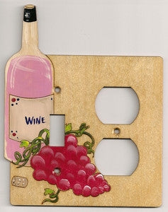 Wine bottle and grapes Switch and Plug Right  wooden Switch plate cover