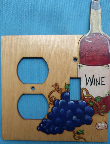 Wine bottle and grapes Switch and Plug Left  wooden Switch plate cover