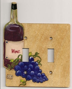 Wine bottle and grapes Double wooden Switch plate cover